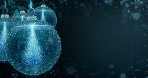 Blaue Weihnachtsball-Flitter-Verzierung mit Entschließung der Tannen-Baumhintergrundschleife 4k vektor abbildung