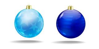 Blaue Weihnachtsbaumkugeln Vektor Getrennt Stockbild