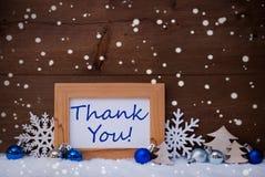 Blaue Weihnachtsdekoration, Schnee, danke, Schneeflocken Stockfoto
