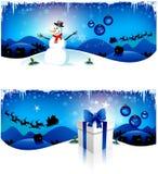 Blaue Weihnachtsfahnen Lizenzfreies Stockfoto