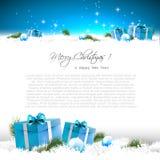 Blaue Weihnachtsgrußkarte Stockfotos