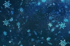 Blaue Weihnachtshintergrund-Schneebeschaffenheit, Abstraktion, Schneeflocken Lizenzfreies Stockbild