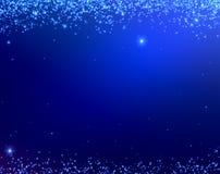 Blaue Weihnachtshintergrundbeschaffenheit mit den Sternen, die von oben fallen lizenzfreie abbildung