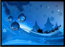 Blaue Weihnachtskarte Lizenzfreie Stockfotografie