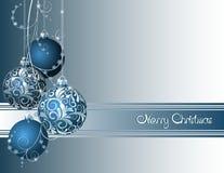 Blaue Weihnachtskarte Stockfotos