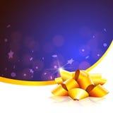 Blaue Weihnachtskarte mit Goldfarbband Stockbilder
