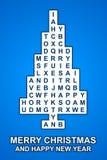 Blaue Weihnachtskreuzwort-Baumkarte Lizenzfreies Stockfoto