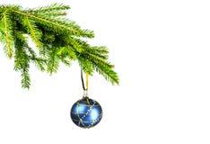 Blaue Weihnachtskugel und Weihnachtsbaum Stockfotografie
