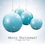 Blaue Weihnachtskugeln stockbild