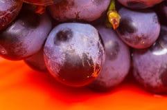 Blaue Weinreben der Beere auf einer roten Untertasse Stockfoto