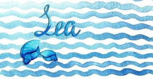 Blaue Wellen des Handgezogenen Aquarells mit Muscheln und Beschriftung auf weißem Hintergrund lizenzfreies stockfoto