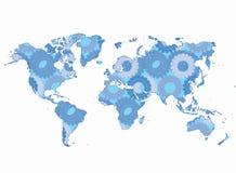 blaue Weltkarte Stockbild