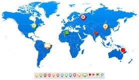Blaue Weltkarte- und Navigationsikonen - Illustration Lizenzfreie Stockbilder