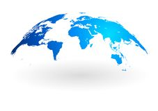 Blaue Weltkartekugel lokalisiert auf weißem Hintergrund Stockfotografie