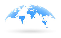 Blaue Weltkartekugel lokalisiert auf weißem Hintergrund Stockbilder
