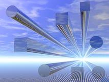 blaue widergespiegelte Beschaffenheit des Hintergrundes 3D stockfoto