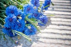 Blaue Wildflowers im Sonnenlicht auf einem hellen Leinengewebe Lizenzfreie Stockfotos