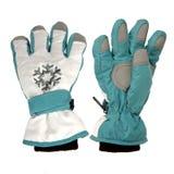 Blaue Winterhandschuhe Stockfoto