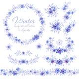 Blaue Wintermit blumenblumensträuße, -ring und -gurt Cliparts für Heiratsdesign, künstlerische Schaffen Stockfotos