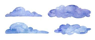 Blaue Wolken des Aquarells auf weißem Hintergrund lizenzfreie abbildung