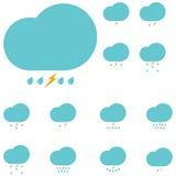 Blaue Wolken mit Tropfen und Blitz vektor abbildung