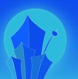 Blaue Wolkenkratzerfrontseite von Stockfotografie