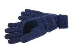 Blaue woolen Handschuhe Lizenzfreie Stockfotos