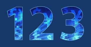 Blaue Zahlen mit gelegentlicher Beschaffenheit Lizenzfreie Stockfotos