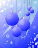 Blaue Zeichnung der Weihnachtskugeln stockbild