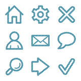 Blaue Zeile grundlegende Web-Ikonen Lizenzfreies Stockbild