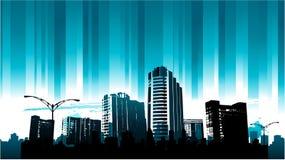 Blaue Zeile Stadtbildhintergrund Stockfotografie
