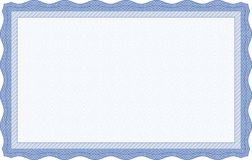 Blaue Zertifikat-Schablone Stockfotos