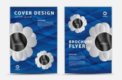 Blauer Abdeckung Schablone Vektorentwurf, Broschürenflieger, Jahresbericht, mgazine Anzeige, Anzeige, Bucheinbandplan, Plakat lizenzfreie abbildung
