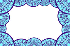Blauer abstrakter dekorativer Rahmen für Fotografien, Karten, Einladungen, Broschüren Helle blaue Fotorahmenschablone Stockbild