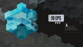 Blauer abstrakter geometrischer Würfel auf dunklem BG Lizenzfreies Stockfoto