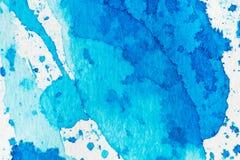 Blauer abstrakter Hintergrund des Aquarells stockbild