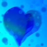 Blauer abstrakter Hintergrund des Farbherzens Stockbild