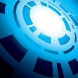 Blauer abstrakter Hintergrund mit runder Abstraktion Stockfotos