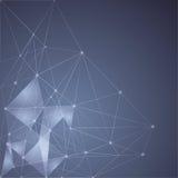 Blauer abstrakter Mesh Background mit glühenden Linien Stockfoto