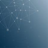 Blauer abstrakter Mesh Background mit glühenden Linien Stockbilder