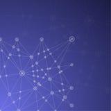 Blauer abstrakter Mesh Background mit glühenden Linien, Kreisen und SH Stockbild