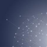 Blauer abstrakter Mesh Background mit glühenden Linien, Kreisen und SH Lizenzfreies Stockbild