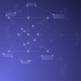 Blauer abstrakter Mesh Background mit glühenden Linien, Kreisen und SH Lizenzfreie Stockfotografie