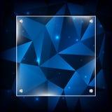 Blauer abstrakter polygonaler Hintergrund mit Glasrahmen Lizenzfreie Stockbilder