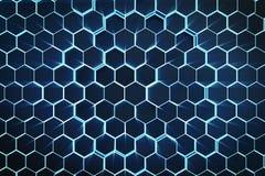 blauer abstrakter sechseckiger geometrischer Hintergrund der Illustration 3D Struktur von selbstleuchtenden Hexagonen in der blau Stockbilder