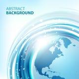 Blauer abstrakter Vektorhintergrund mit Erde Stockfotografie