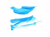 Blauer Acrylfarbenrahmen/-fleck Reinweißhintergrund Lizenzfreies Stockbild