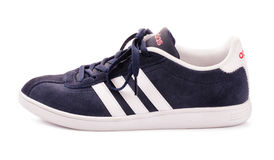 Blauer Adidas-Turnschuh für das Laufen Stockfotos