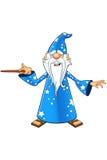 Blauer alter Zauberer-Charakter Stockbild