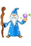 Blauer alter Zauberer-Charakter Stockfotos